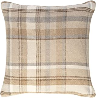 McAlister Textiles Heritage Pillow Case | Natural Beige Tartan Check Designer Wool Feel Throw Square Scatter Sofa Cushion | Accessory - 20 x 20 Inches