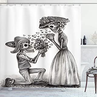 Ambesonne Day of The Dead Shower Curtain, Mariage Proposal Till Life Do Us Apart Dead Day Art Print, Cloth Fabric Bathroom Decor Set with Hooks, 70