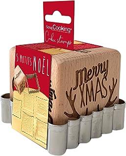 SCRAP COOKING 5138 Tampon Pâtisserie en Bois à Motifs de Noël-avec 1 Découpoir Emporte-Pièce Biscuit & Cube Xmas avec 5 Fa...