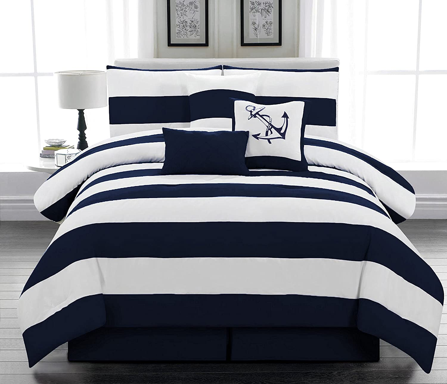 Legacy Decor 7pc Microfiber Nautical Themed Comforter Set Navy Blue And White Striped Full Queen And King Sizes Twin Home Kitchen