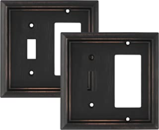 Pack of 2 Wall Plate Outlet Switch Covers by SleekLighting | Decorative oil rubbed bronze | Variety of Styles: Decorator/Duplex/Toggle / & Combo | Size: 2 Gang Combo Toggle and Decorator