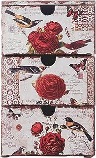 Rebecca Mobili Cajonera, Organizador joyería y Maquillaje, 3 cajones, PVC, Blanco, Estilo Vintage, para baño - Medidas: 30 x 18 x 15 cm (AxANxF) - Art. RE4763