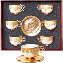 Sponsored Ad - Alisveristime 12 Pc Turkish Greek Arabic Coffee Espresso Cup Saucer Porcelain Set (Gold Color)
