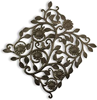 Haitian Metal Wall Art, Small Spring Garden Tree with Birds, Handmade from Recycle Oil Barrels 14.5 in. x 14.5 in.
