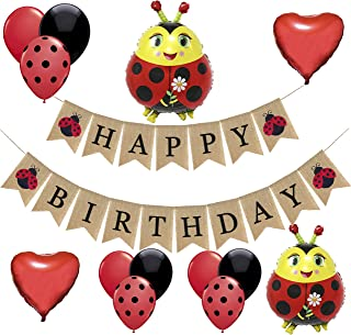 Ladybug Birthday Party Decorations-1 Happy Birthday Burlap Banner, 2 Ladybug and 2 Heart Shaped Mylar Balloons,16 Black Re...