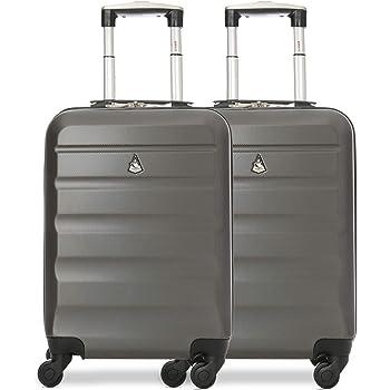 Aerolite ABS Bagage Cabine Bagage à Main Valise Rigide Légere à 4 roulettes, pour Ryanair, Easyjet, Air France et Plus, Set de 2 Valises, Gris Foncé