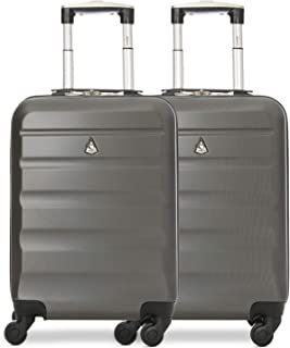 ABS Hard Shell Lightweight Luggage Travel Suitcase (Set of 2, Charcoal)