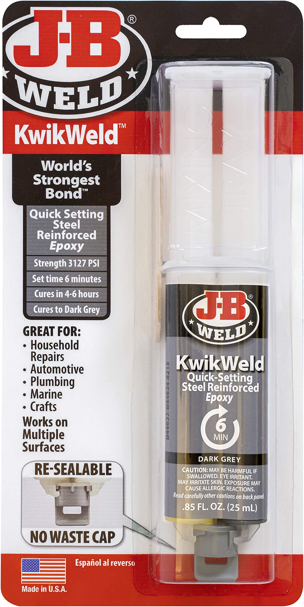 J-B Weld 50176 KwikWeld Steel Reinforced Epoxy Syringe - Dark Grey - 25 ml,Black