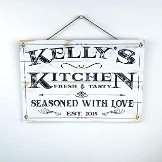 Artblox Personalized Wooden Kitchen Wall Decor | Farmhouse Kitchen Decor | Last Name Signs for Home | Family Sign | Housewarming Gifts | Wedding Gift - (16x12) - White