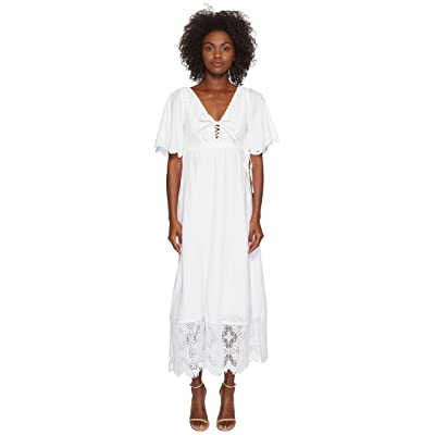McQ Broderie Anglaise Long Dress (Optic White) Women
