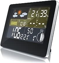 CSL - Funk Wetterstation mit Farbdisplay - inkl. Außensensor - DCF Empfangssignal Funkuhr - Innen- und Außentemperatur Wettervorhersage-Piktogramm UVM. - LCD-Display