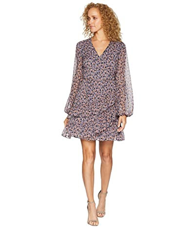 1.STATE Long Sleeve Ditsy Drift Ruffled Wrap Front Dress (Iris Shade) Women
