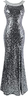 Women's Round Neck Beading Sequin Backless Slit Party Dress