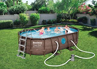 BestWay Power 56714 - Juego de piscinas con marco de acero ovalado de ratán sobre el suelo, 14 pies x 8 pies 2 pulgadas x 39,5 pulgadas, con filtro de bomba y cubierta de tela para piso