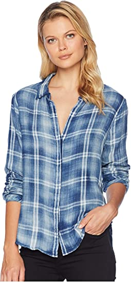 Washed Vintage Double Weave Denim Plaid Long Sleeve Shirt