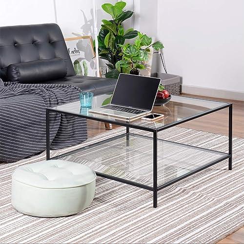 FurnitureR Mesa de Centro Cuadrada, Mesa de cóctel con Tapa de Cristal Templado, Fuerte Estructura de Metal Negro, Me...