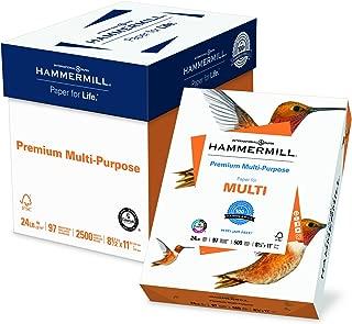 Hammermill Paper, Premium Multipurpose Paper, 8.5 x 11 Paper, Letter Size, 24lb Paper, 97 Bright, 5 Ream / 2,500 Sheets (105810C) Acid Free Paper