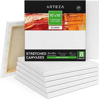 ARTEZA Lienzos blancos estirados e imprimados   25,4x25,4 cm   Pack de 8  100% algodón   Lienzos de pintura acrílica, óleo y medios húmedos   Para artistas profesionales, aficionados y principiantes