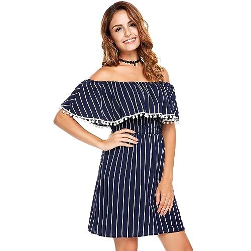227824b6e4e3 Zeagoo Women's Casual Off Shoulder Striped Ruffles Strapless Short Dresses  Mini Dresses