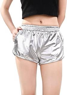 Skylety Metallic Shiny Shorts Women Sparkly Hot Shorts Girl Yoga Outfit Casual Loose Shorts