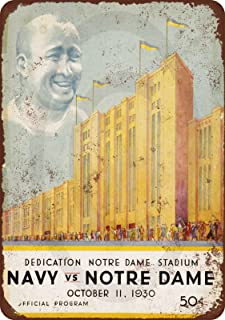 1930 Dedication Notre Dame Stadium Navy Game Vintage Look Reproduction Metal Sign