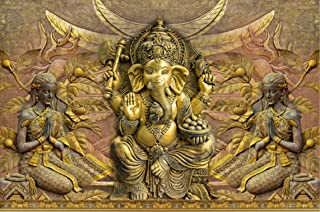 Masstone Ganesha God Religious Sparkle Coated Self Adhesive Painting Without Frame Digital Reprint (24 x 36 inch)