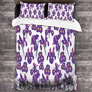 QIAOSHENG Purple Fleur-de-lis 3 Piece Bedding Duvet Cover Set Printed Comforter Bedding Cover with 2 Pillow Cases Shams with Zipper Closure for Kids Teen Boys Girls
