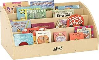 ECR4Kids Birch Toddler Book Display Stand, Mobile Wood Book Shelf Organizer for Kids, 4 Shelves, Natural