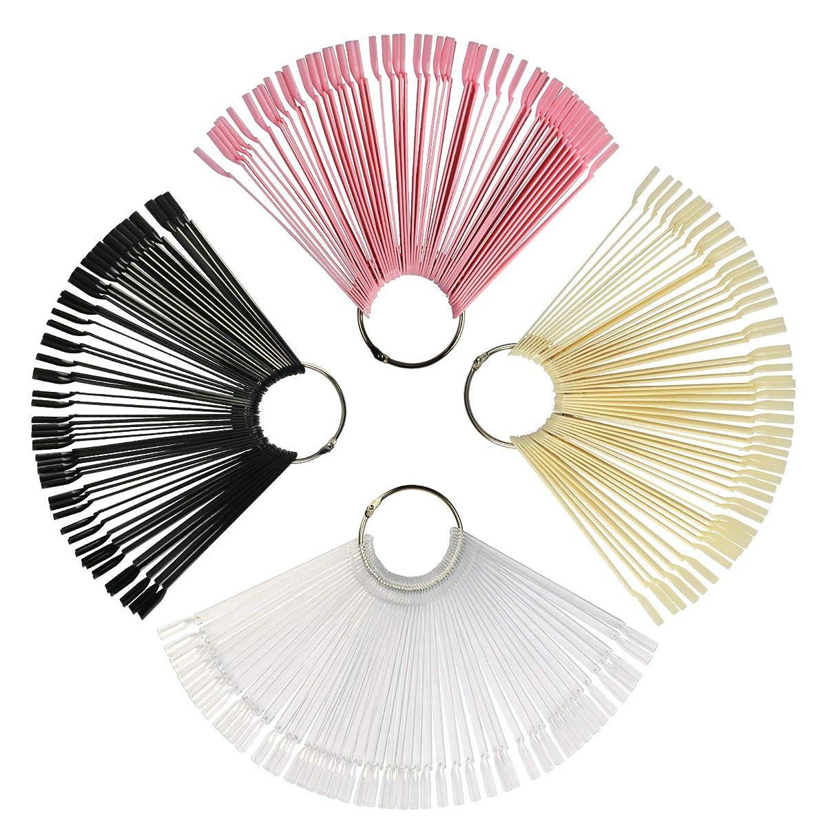ネイルカラーチャート KAKOO スティック式 200枚 4色(透明?ブラック?ピンク?ナチュラルカラー) 4個リング付属 偽ネイル 練習用 ネイルアート チップ クリア カラーチャートサンプル 見本カラーチャート