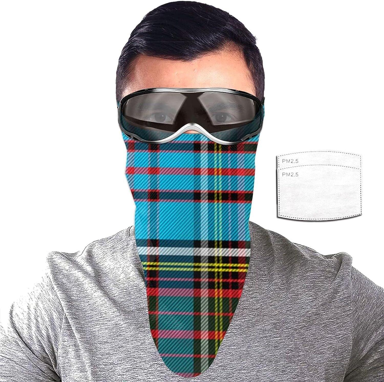 ZORIN Azul Verde Rojo Negro Plaid Tartan Protección Solar Bandanas Cara Bufanda Cubierta Máscara Con 2 Filtros Polaina Cuello