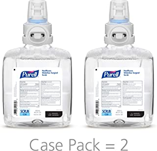PURELL Healthcare Waterless Surgical Scrub, Fragrance Free, 1200 mL Refill for PURELL CS8 Touch-Free Waterless Surgical Scrub Dispenser (Pack of 2) - 7869-02