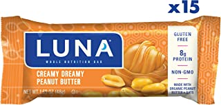 LUNA BAR - Gluten Free Snack Bars - Creamy Dreamy Peanut Butter Flavor - (1.69 Ounce Snack Bar, 15 Count)