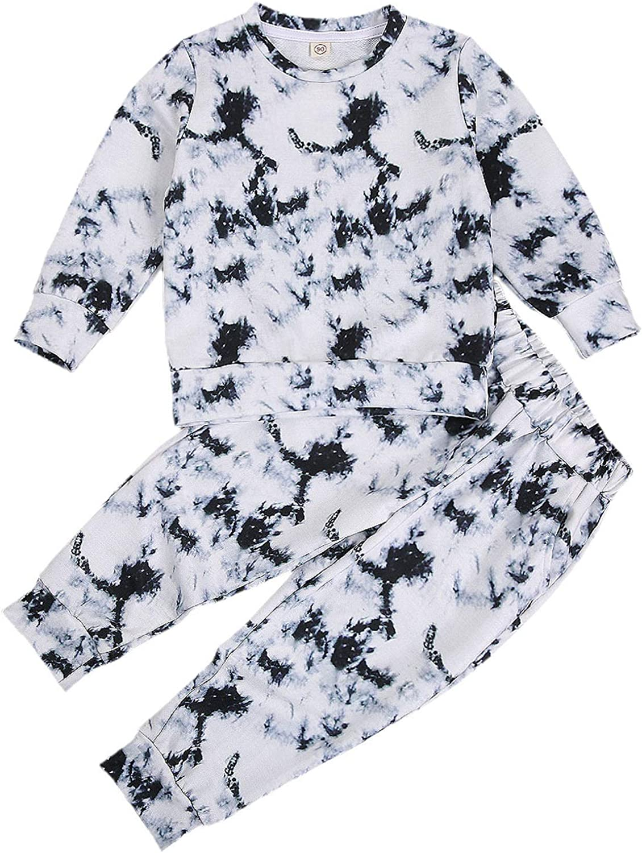 Kids Tie Dye Outfit Set Girls Boys Long Sleeve Sweatshirt Tops and Long Pants Suit