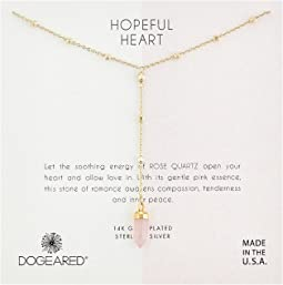 Hopeful Heart, Rose Quartz Gem Spear Y Necklace