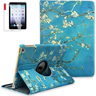 iPad Mini Case with Bonus Screen Protector - iPad Mini 3/2/1 Case Cover - 360 Degree Rotating Stand with Auto Sleep/Wake for Mini 1st/ 2nd/ 3rd Generation - A1599 A1600(Pear Flower)