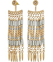Steve Madden - Silver Dangling Beaded Front To Back Earrings