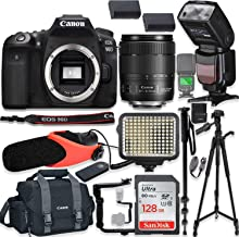 "$1649 Get Canon EOS 90D DSLR Camera w/Canon 18-135mm USM Lens Kit + Pro Photo & Video Accessories Including 128GB Memory, Speedlight TTL Flash, LED Light, Condenser Micorphone, 60"" Tripod & More"