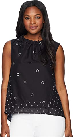 Grommet Printed Sleeveless Top