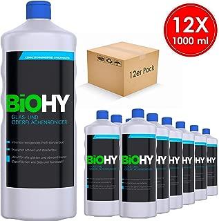 Biohy – Limpiador de cristal y superficies – 12 unidades (12 x 1 litro) concentrado profesional de limpieza intensiva – Limpieza profesional – Detergente orgánico