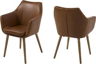 comprar comparacion AC Design Furniture Lore - Silla con brazos (revestimiento de piel artificial, patas de roble), Marrón
