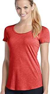 Jockey Women's Activewear Essential Scoopneck Tee, brilliant red heather, L