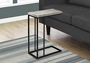 Monarch Specialties GREY RECLAIMED WOOD-LOOK/BLACK METAL ACCENT, END, SNACK TABLE, Gray