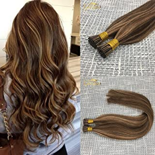 Googoo Highlighted Prebonded Remy Hair Extensions Chocolate Brown mixed Honey Blonde Ombre I-tip Human Hair Extension 50 Strands 1g/s 22inch