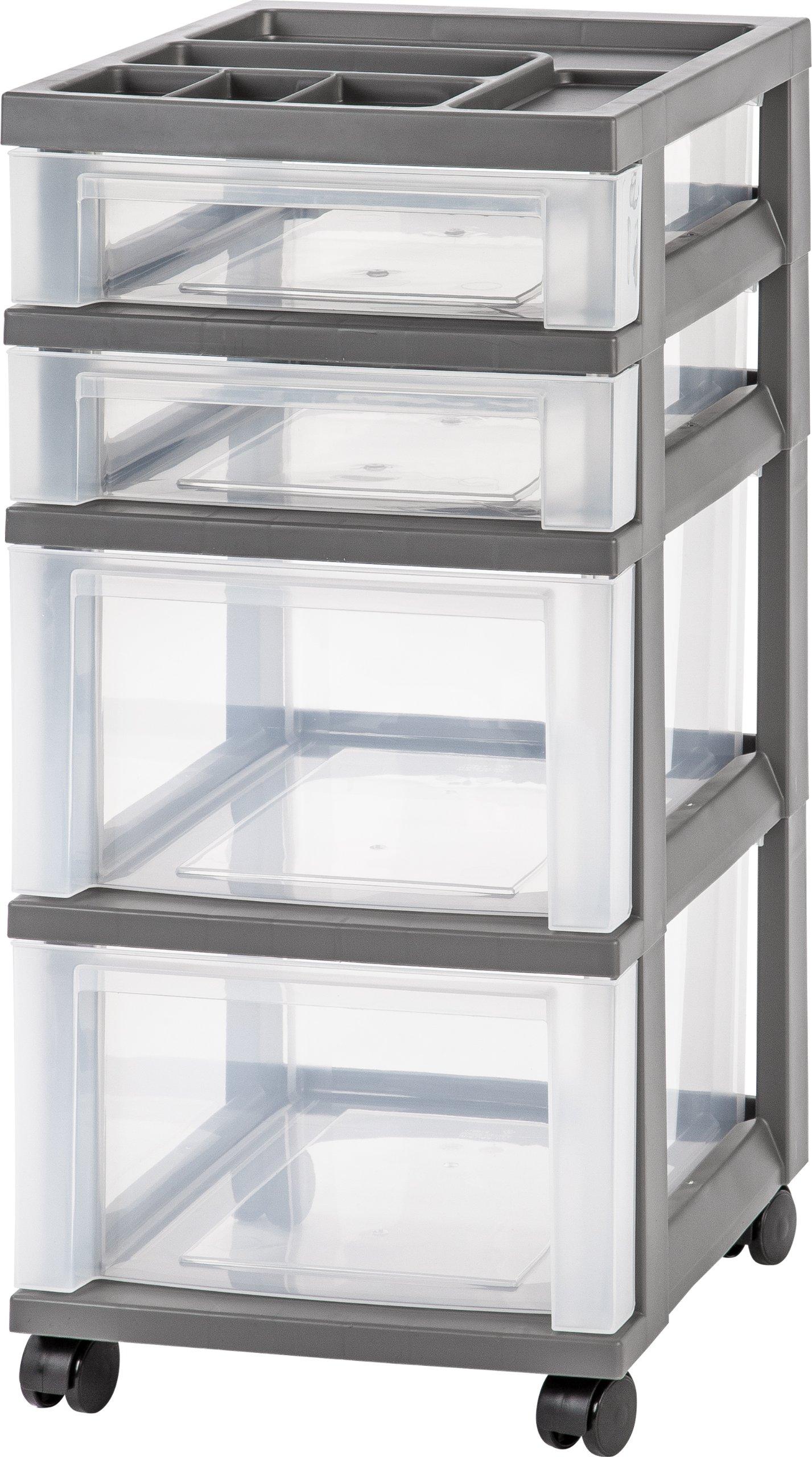 IRIS 4 Drawer Rolling Storage Organizer