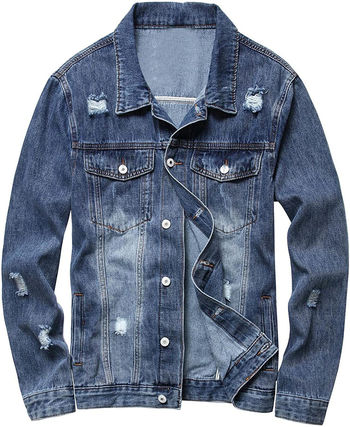 XUNFUN Men's Denim Jacket Retro Unlined Button Down Slim Fit Sherpa Trucker Coat Ripped Distressed Jean Jackets with Holes