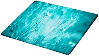 Lunarable Turquoise Cutting Board, Blurred Flowering Meadow Frozen Seasonal Nature Changes Eco Theme Print, Decorative Tempered Glass Cutting and Serving Board, Large Size, Aqua Blue