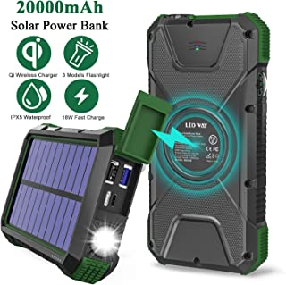 $40 » Solar Charger Power Bank 20000mAh, 18W QC3.0 and PD Fast Charging Portable Outdoor Wireless Charger 10W/7.5W/5W with 4 Outputs & Dual Inputs, External Battery IPX5 Waterproof with Flashlight Compass