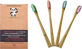 Natural Organic Eco Friendly Bamboo Toothbrush KIDS SOFT Nylon Bristles, BPA Free, Promote Responsible Dental Care (4- Pack)