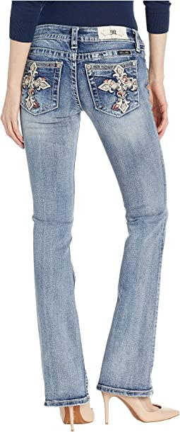 Cross Low Rise Bootcut Jeans in Medium Blue