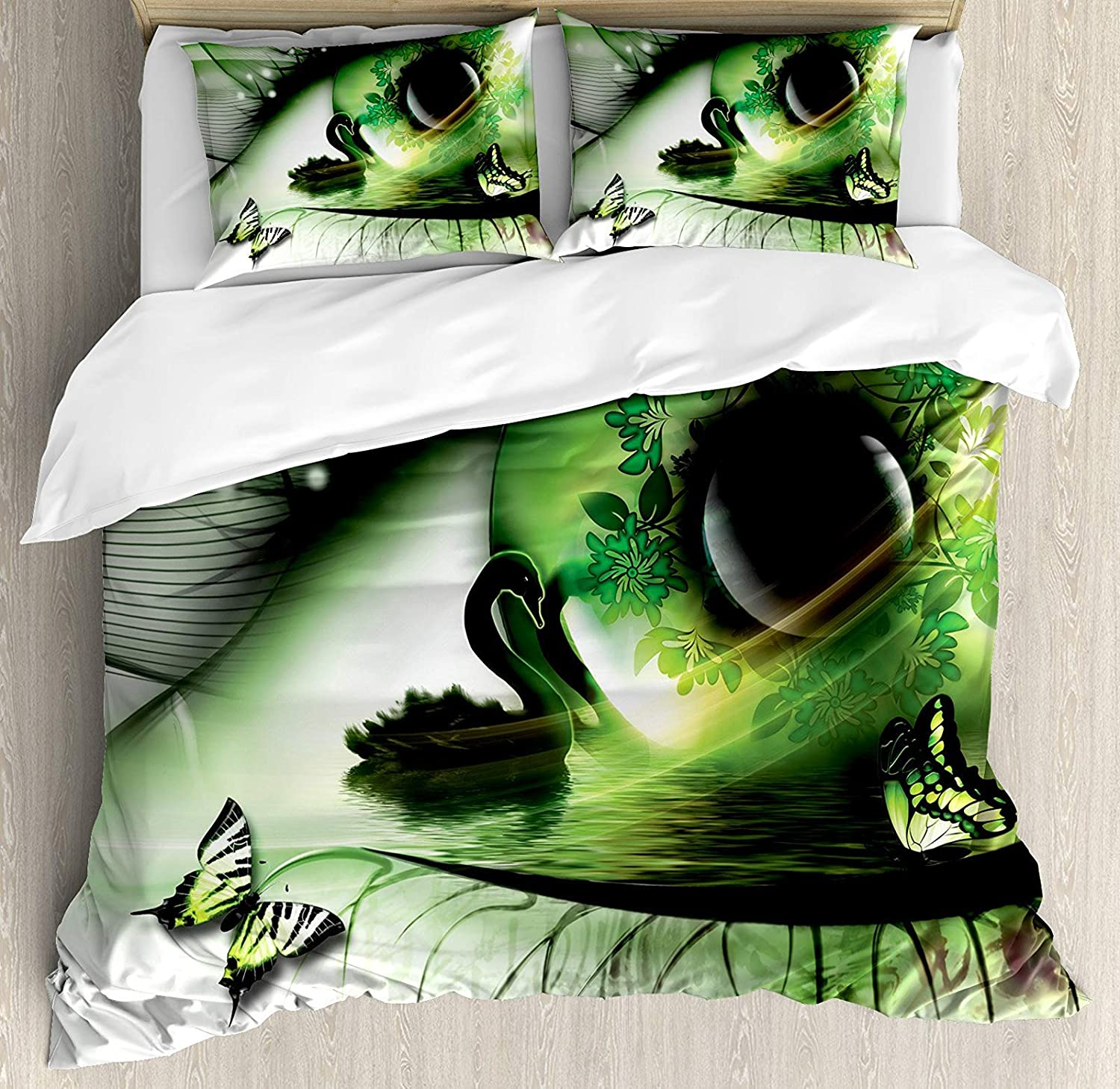Abstract Home Decor 4 Pcs Bedding Set Twin Size, Abstract Natural Artwork with a Swan Floating in The Eye and Flying Butterflies All Season Duvet Cover Bed Set